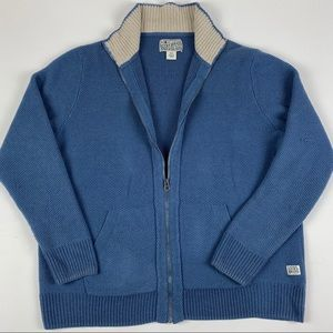 Lucky Brand Mens Blue Cable Knit Full Zip Sweater